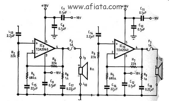 stereo audio amplifier circuit using tda2040