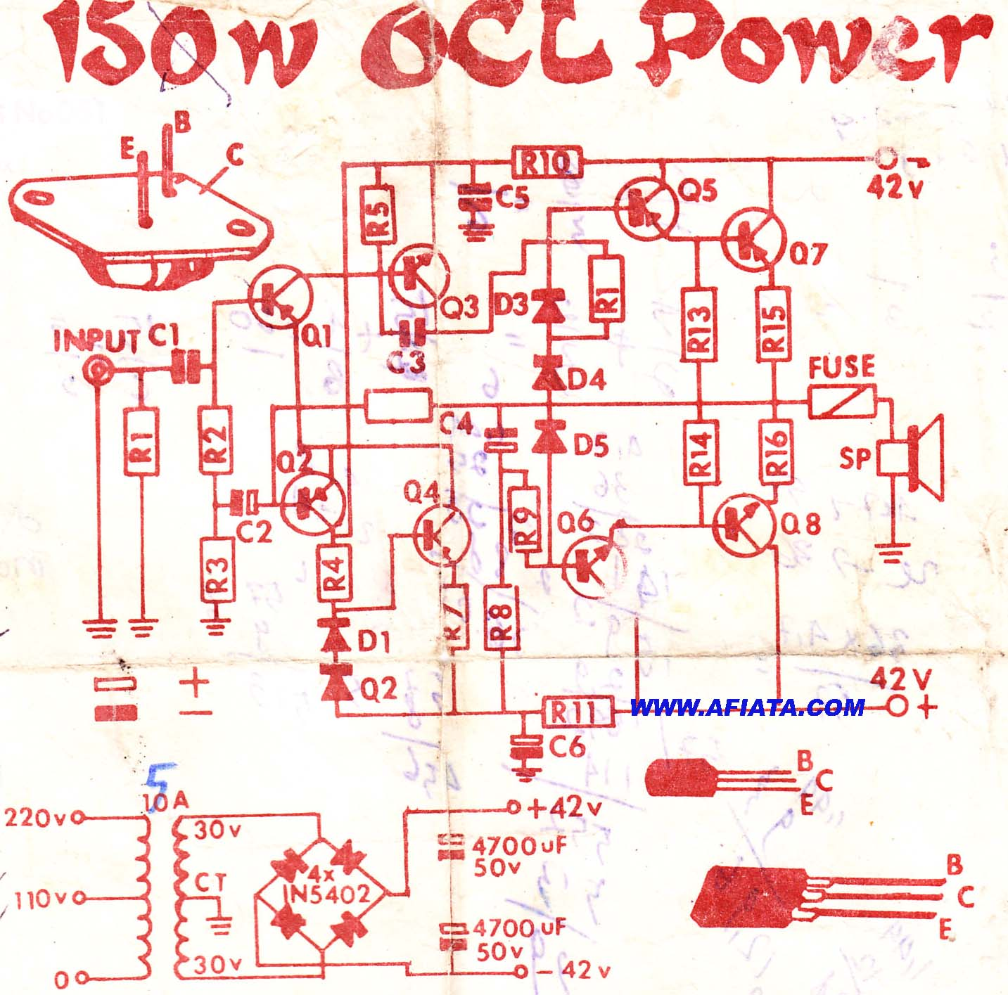 Circuit Diagram Of Variable Power Supply Using Lm317 Wiring Additionally In 2n3055 Mj2955 Audio Amplifier Electronic Circuits Projects