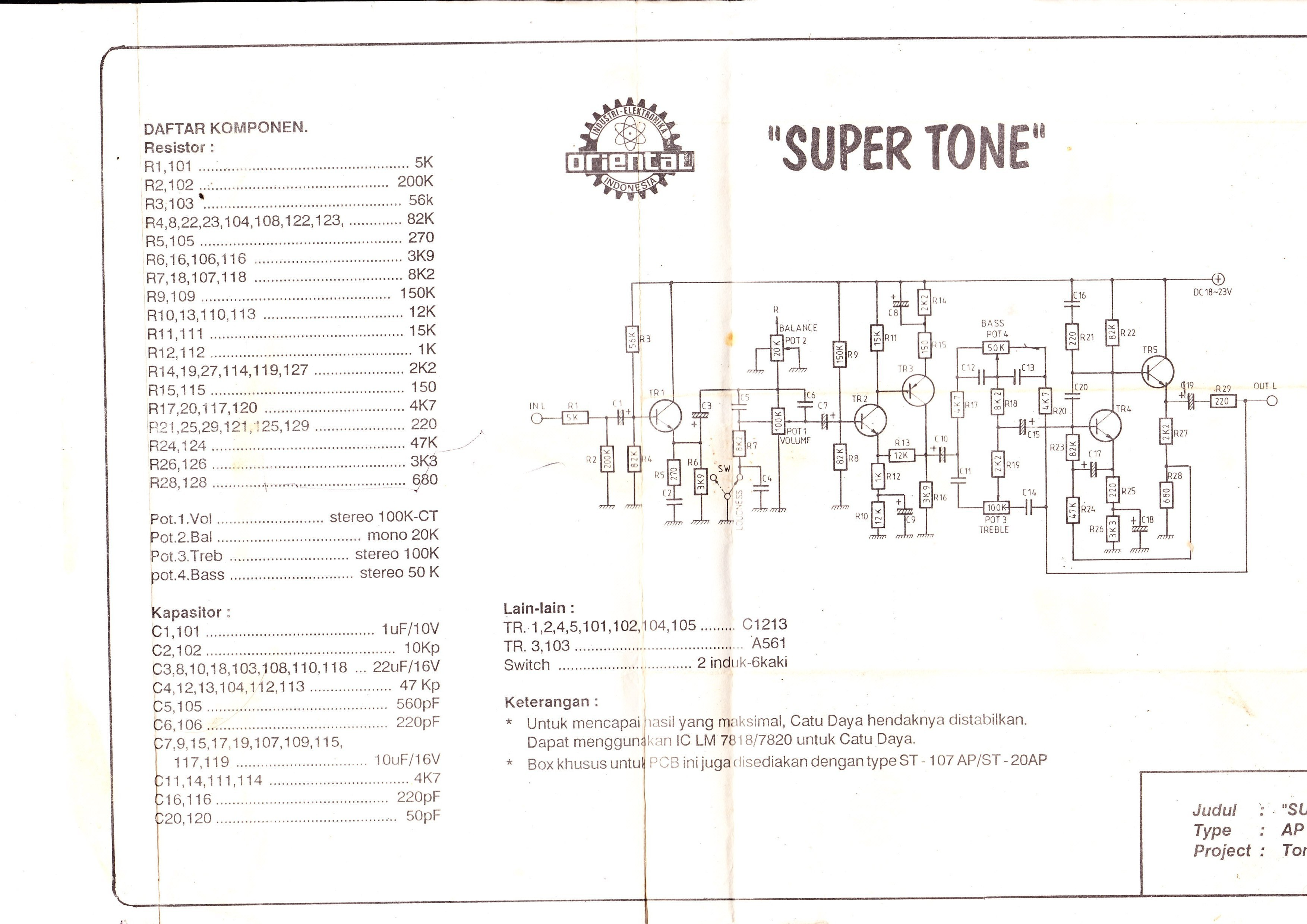 Tone Control Using Tr C1213 And A561